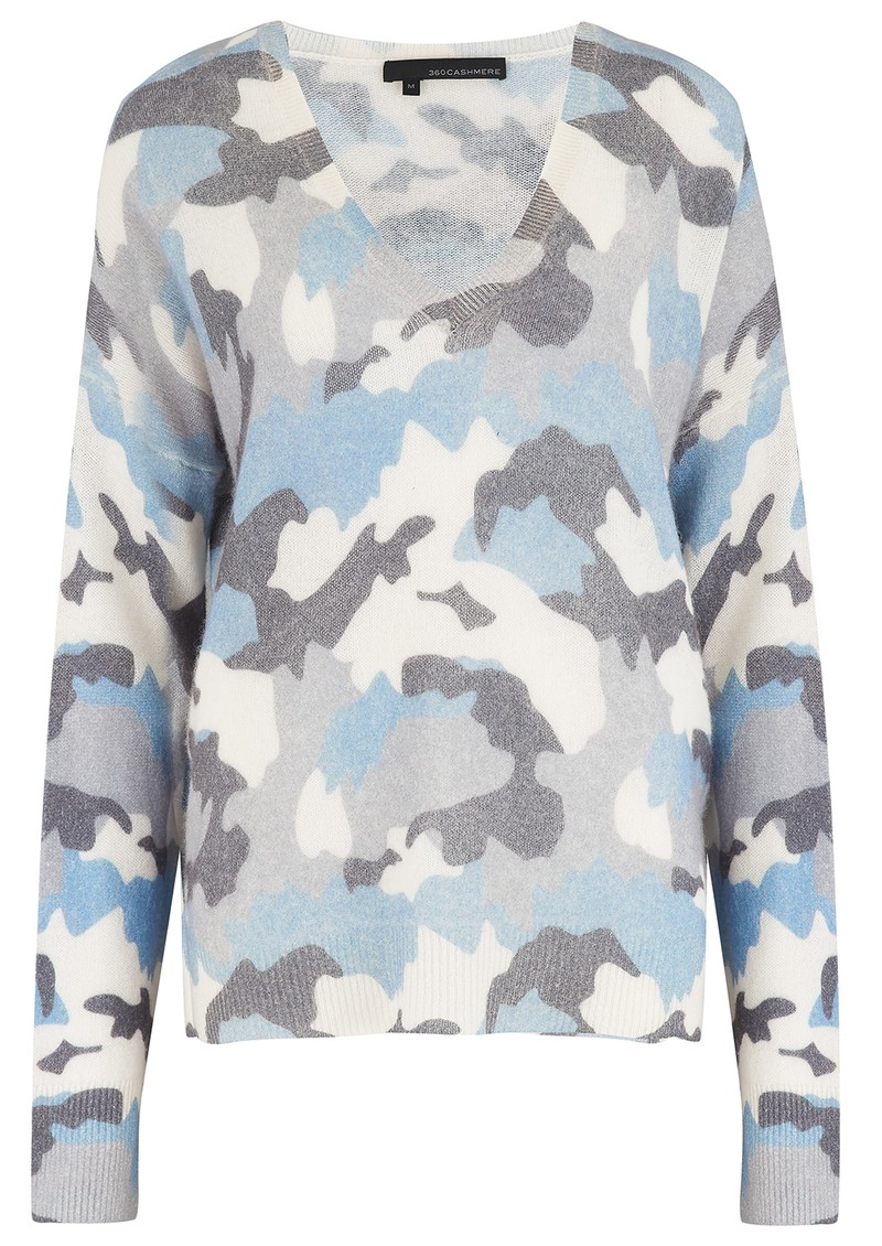 360 SWEATER Theo Cashmere Camo Jumper - Chalk Blue  main image