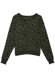 Rails Theo Sweater - Olive Leopard