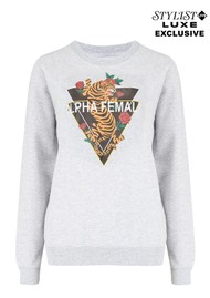 ON THE RISE Exclusive Alpha Female Tiger Sweater - Grey