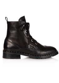 AIR & GRACE Jessa Lace Up Leather Boot - Black