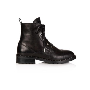 Jessa Lace Up Leather Boot - Black