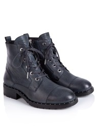 AIR & GRACE Jessa Lace Up Leather Boot - Navy