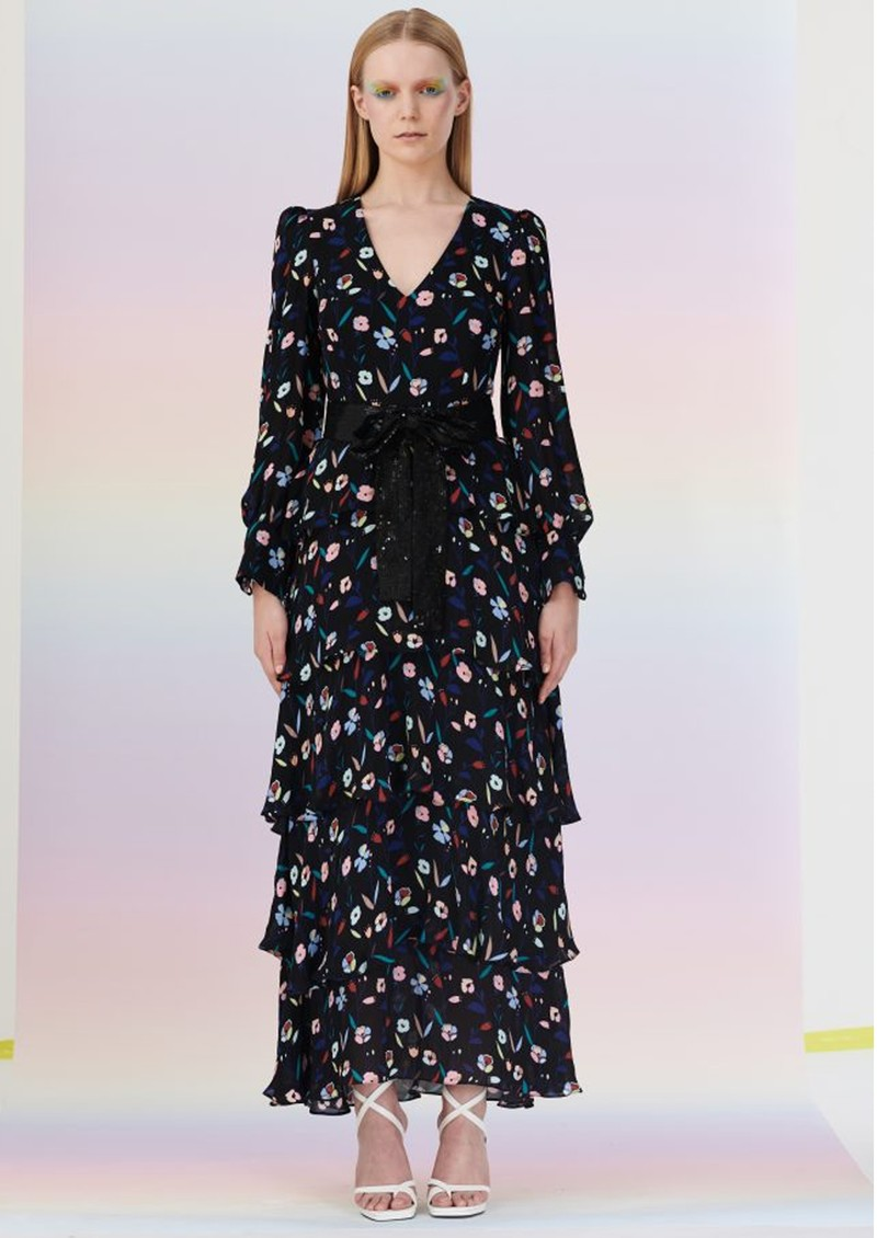 OLIVIA RUBIN Eveline Silk Dress - Retro Floral main image