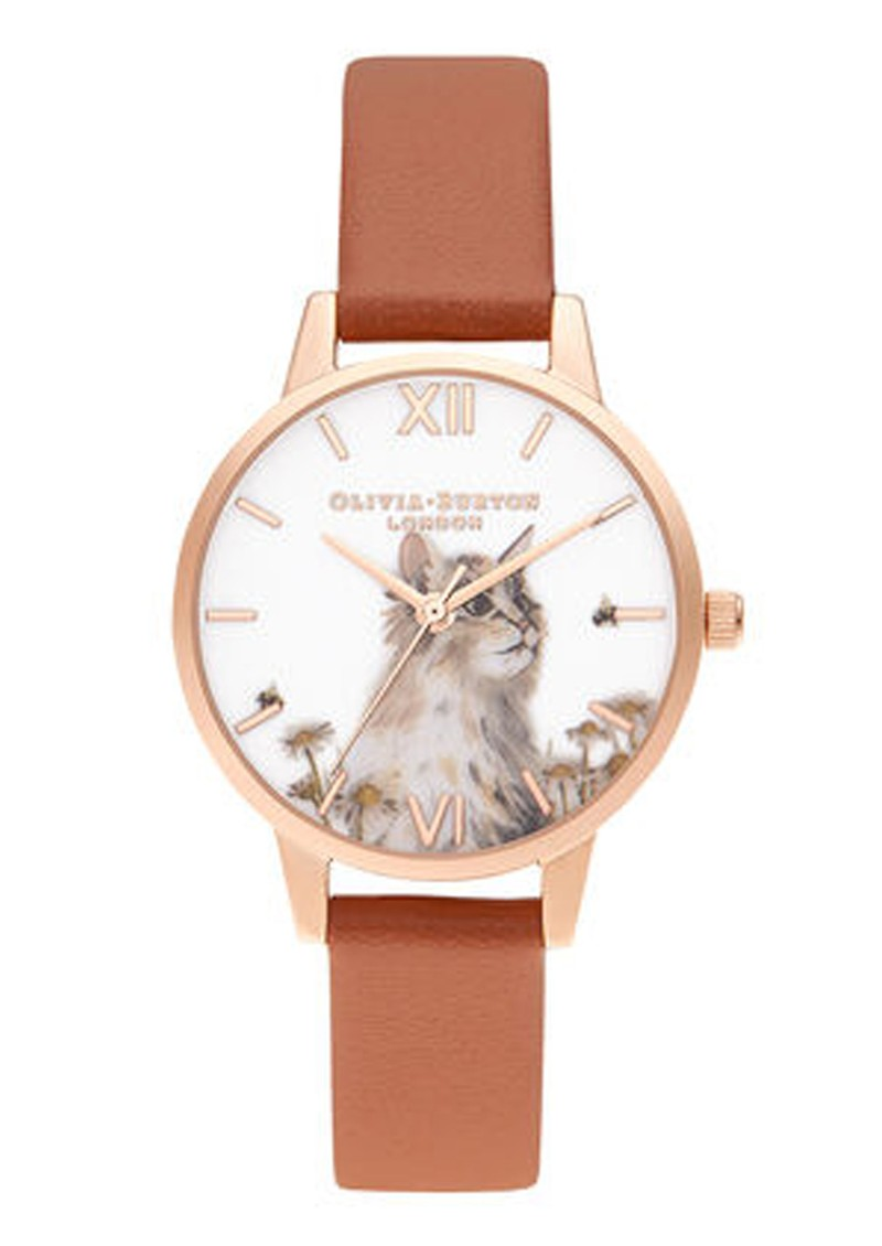 Olivia Burton Illustrated Animals Vegan Friendly Midi Dial Watch - Honey Tan & Rose Gold main image