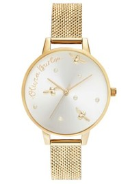Olivia Burton Pearly Queen Demi Dial Watch - Gold Boucle Mesh