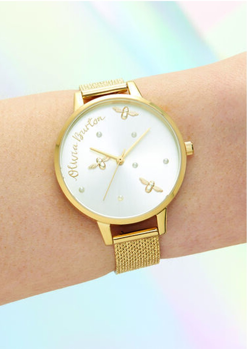 Olivia Burton Pearly Queen Demi Dial Watch - Gold Boucle Mesh main image