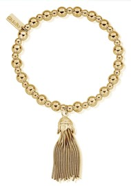 ChloBo Mini Small Ball Tassel Bracelet - Gold