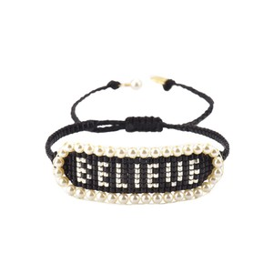 Believe Beaded Bracelet - Black