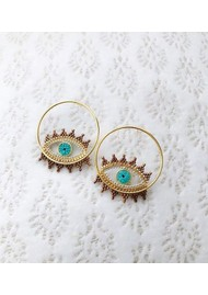 MISHKY Evil Eye Hoop Earrings - Blue