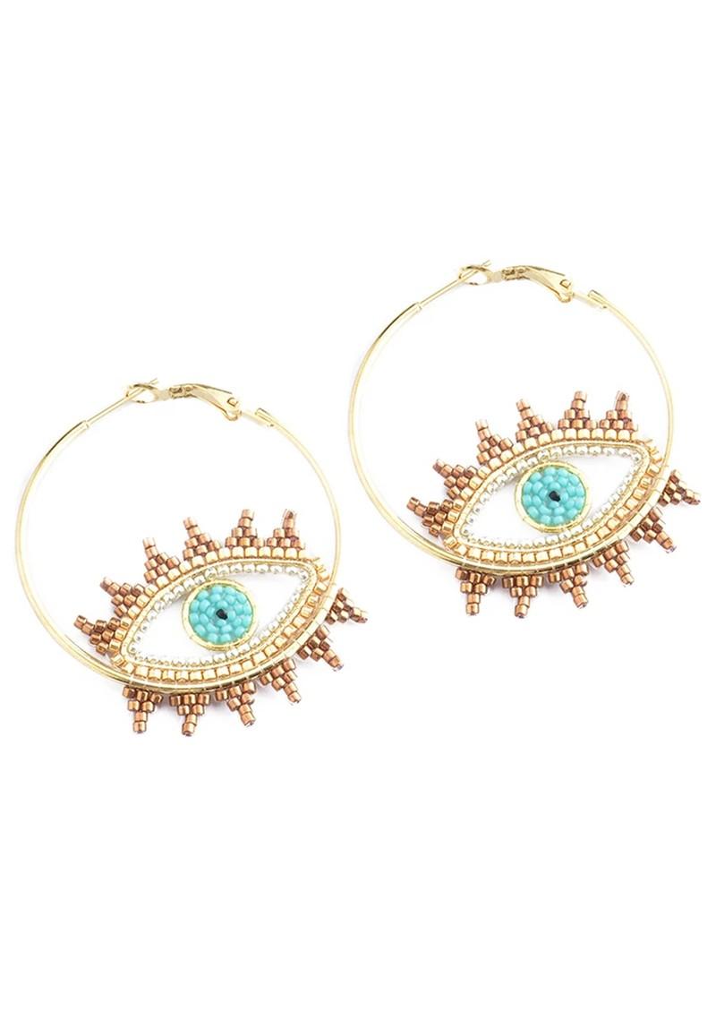 MISHKY Evil Eye Hoop Earrings - Turquoise main image