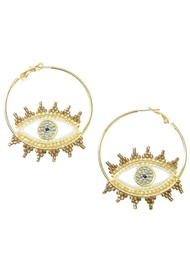 MISHKY Evil Eye Hoop Earrings - White
