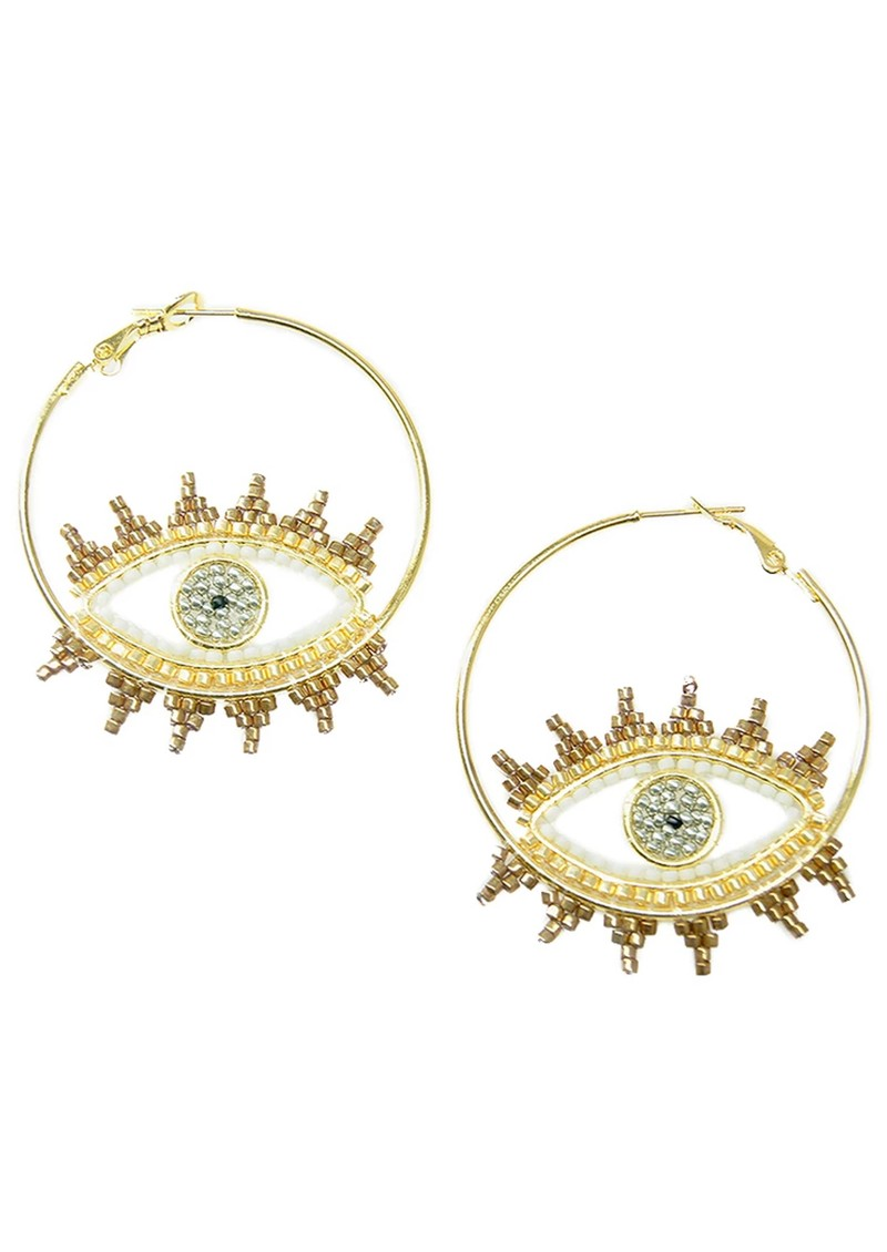 MISHKY Evil Eye Hoop Earrings - White main image