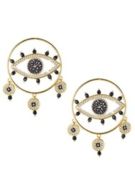 MISHKY Evil Eye Drop Hoop Earrings - Black
