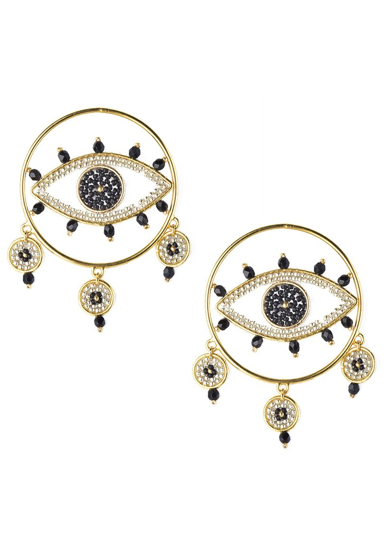 MISHKY Evil Eye Drop Hoop Earrings - Black main image