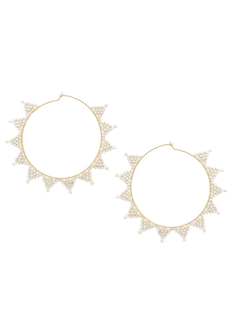 Shooting Star Hoop Earrings - White main image