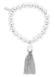 ChloBo Medium Ball Bracelet with Tassel Charm - Silver