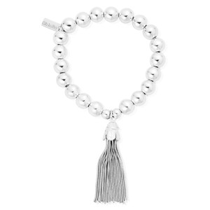 Medium Ball Bracelet with Tassel Charm - Silver