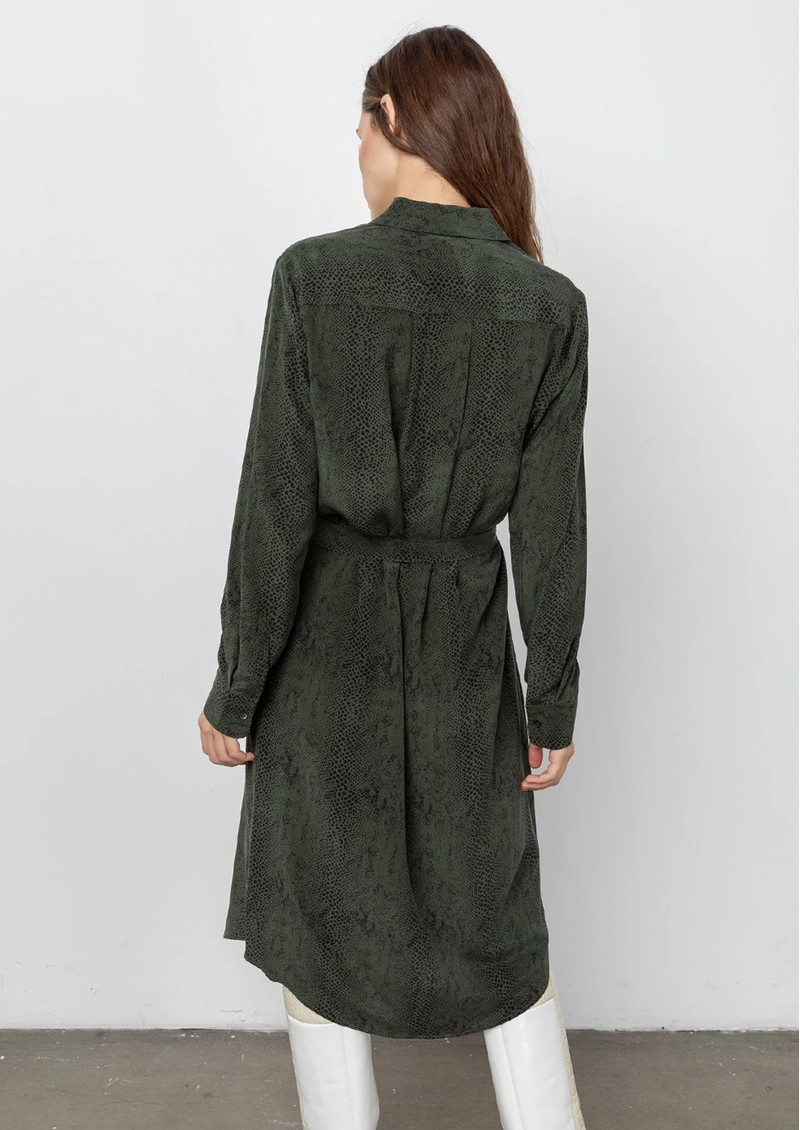 Alix Silk Shirt Dress - Green Python main image
