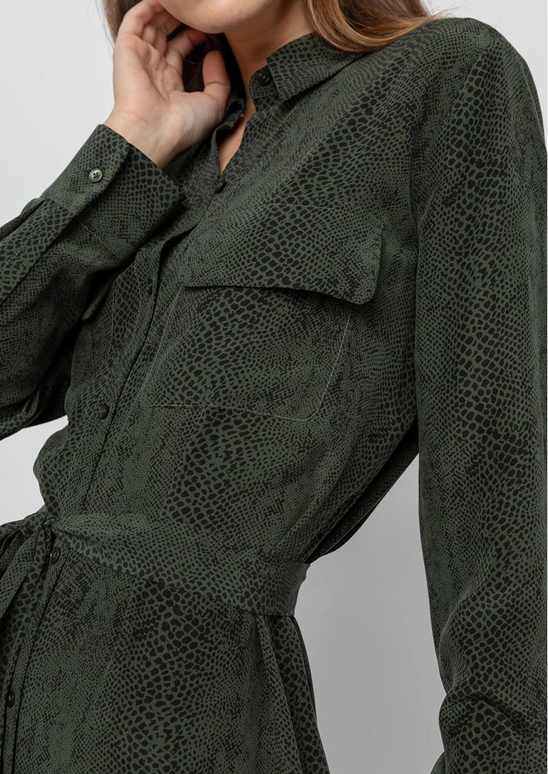 Rails Alix Silk Shirt Dress - Green Python main image