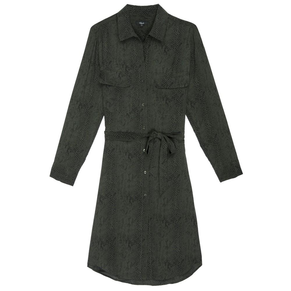 Alix Silk Shirt Dress - Green Python