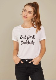SOUTH PARADE Lola 'But First Cocktails' T-Shirt - White