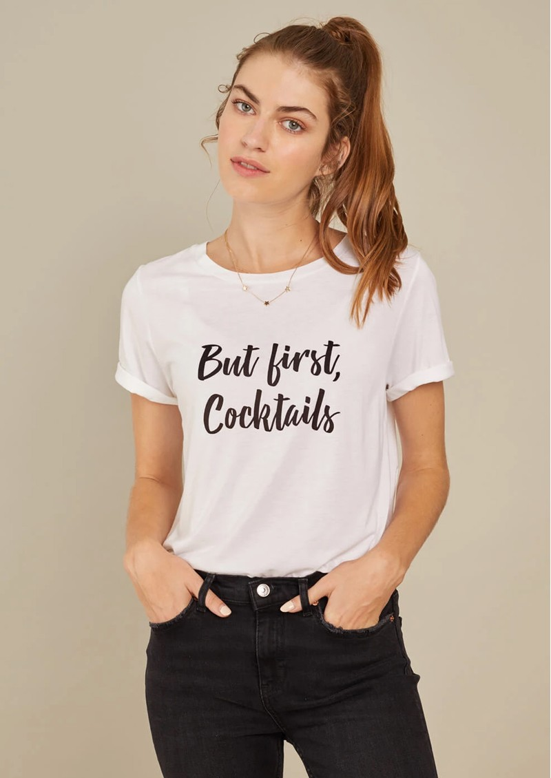 SOUTH PARADE Lola 'But First Cocktails' T-Shirt - White main image