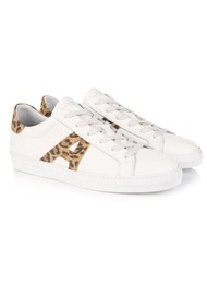 AIR & GRACE Cru Signature Leopard Trainers - White