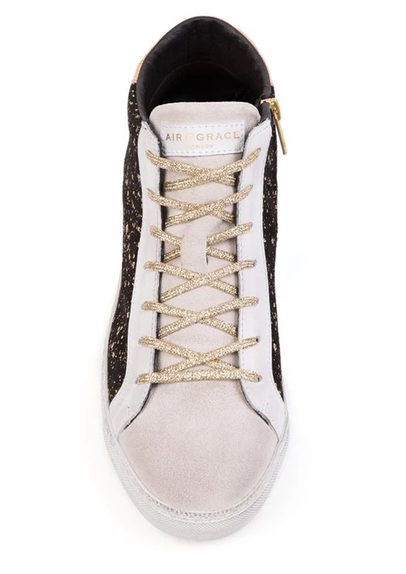 AIR & GRACE  Alto Suede Trainer - Black & Gold main image