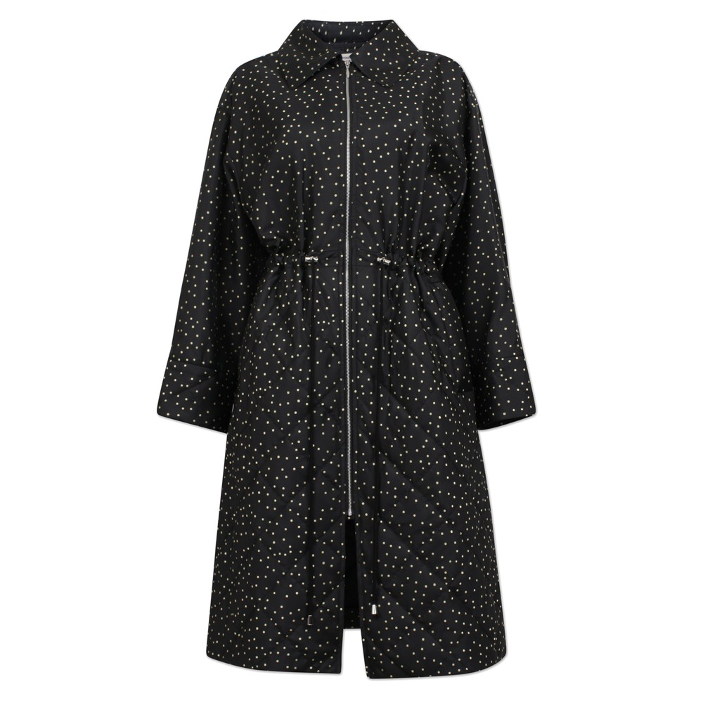 Dillian Polka Dot Coat - Black Straw