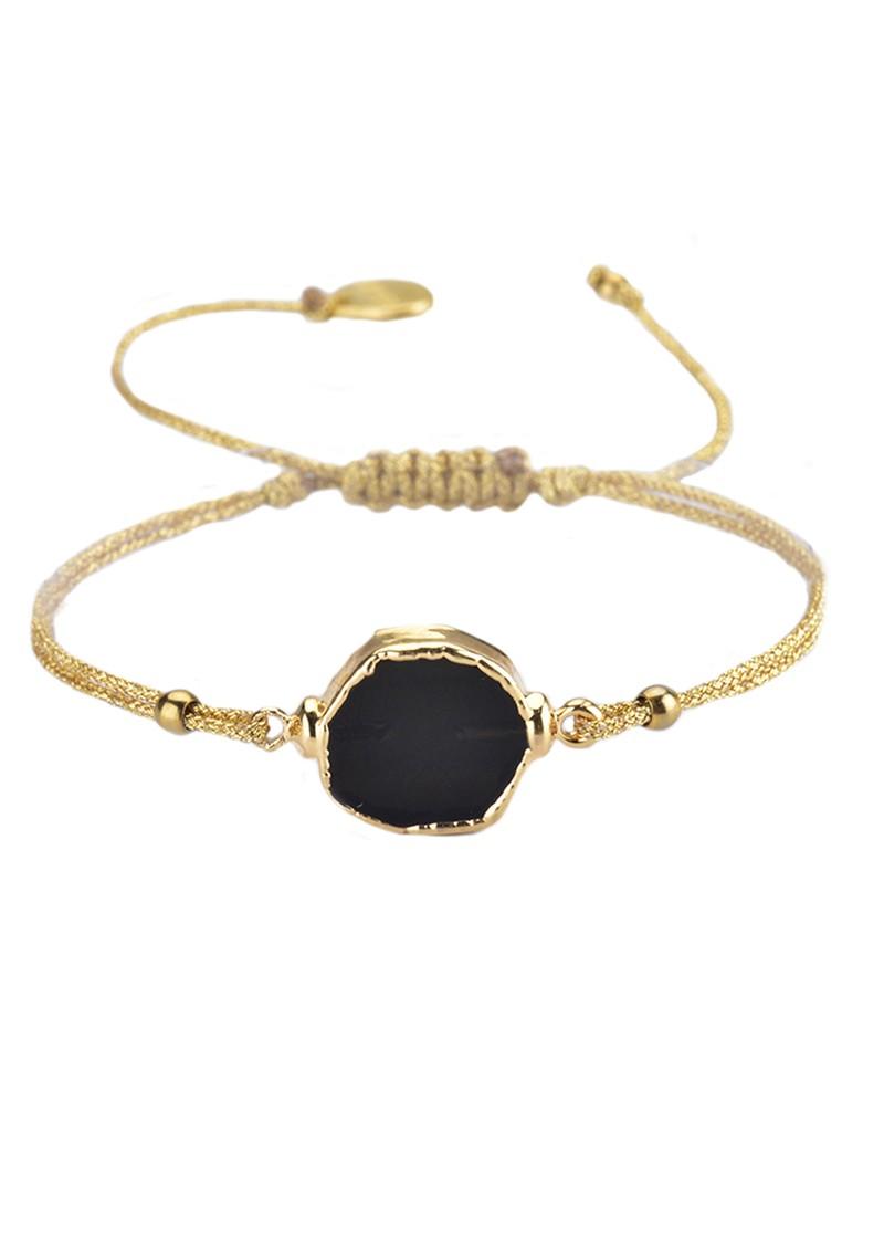 MISHKY Pietre Fili Stone Bracelet - Black & Gold main image