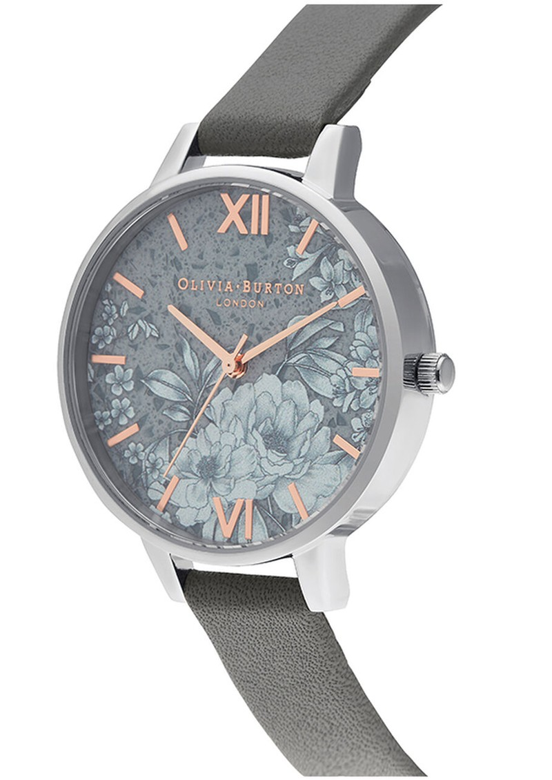 Terrazzo Floral Watch - Dark Grey & Silver main image