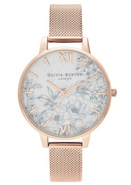 Olivia Burton Terrazzo Floral Big Dial Mesh Watch - Pale Rose Gold