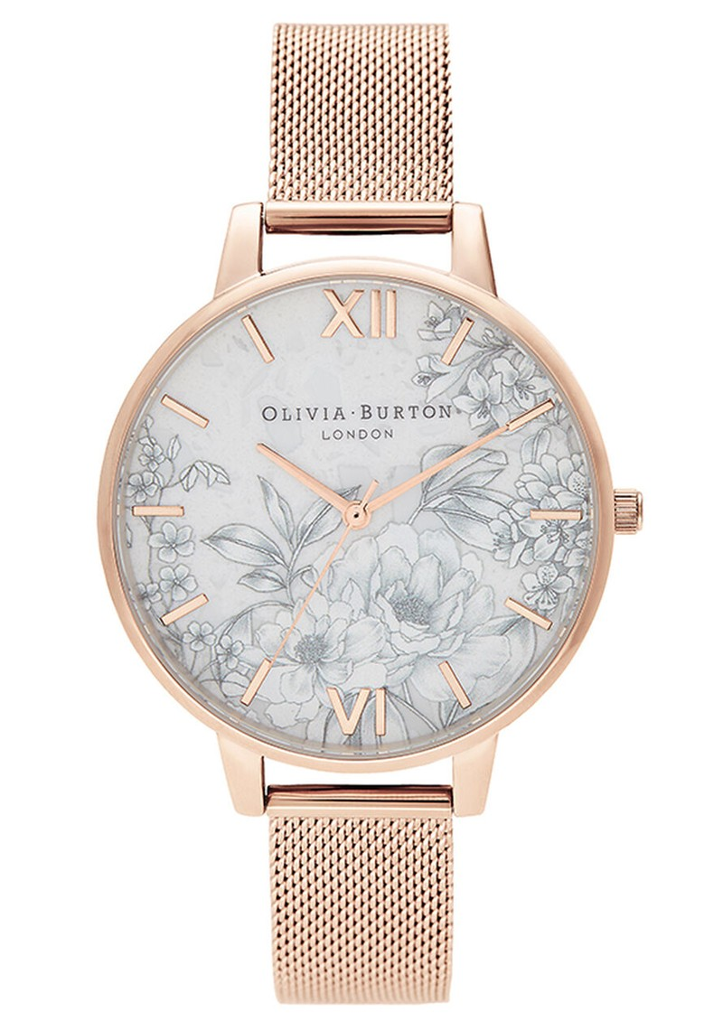 Olivia Burton Terrazzo Floral Big Dial Mesh Watch - Pale Rose Gold main image