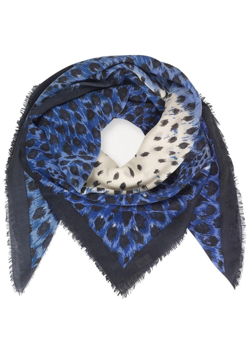 Becksondergaard Coyle Leopard Print Wool Mix Scarf - Blue main image