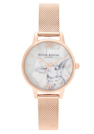 Olivia Burton Winter Wonderland Dial Mesh Watch - Rose Gold