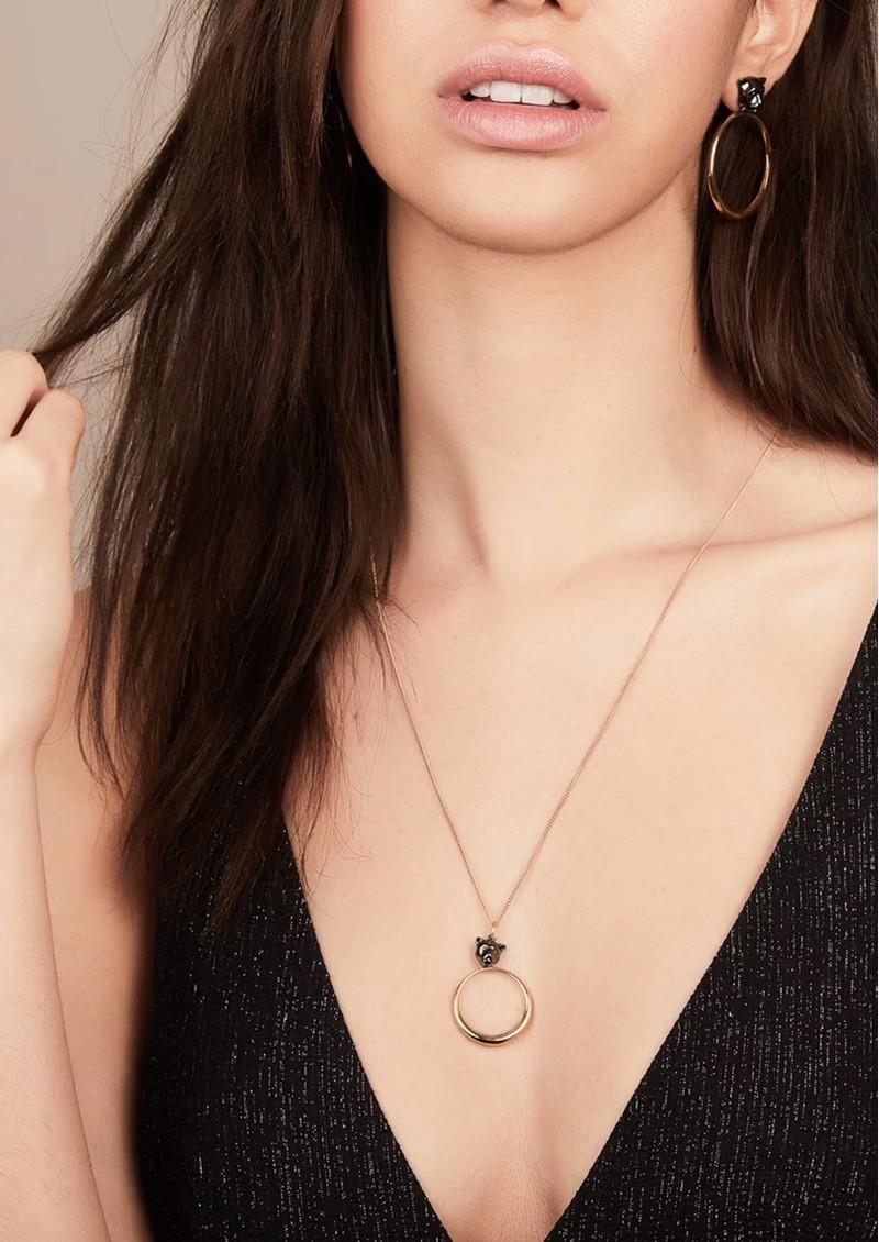 RACHEL JACKSON Full Moon Panther Necklace - Gold & Black main image