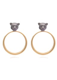 RACHEL JACKSON Full Moon Panther Hoop Earrings - Gold & Black