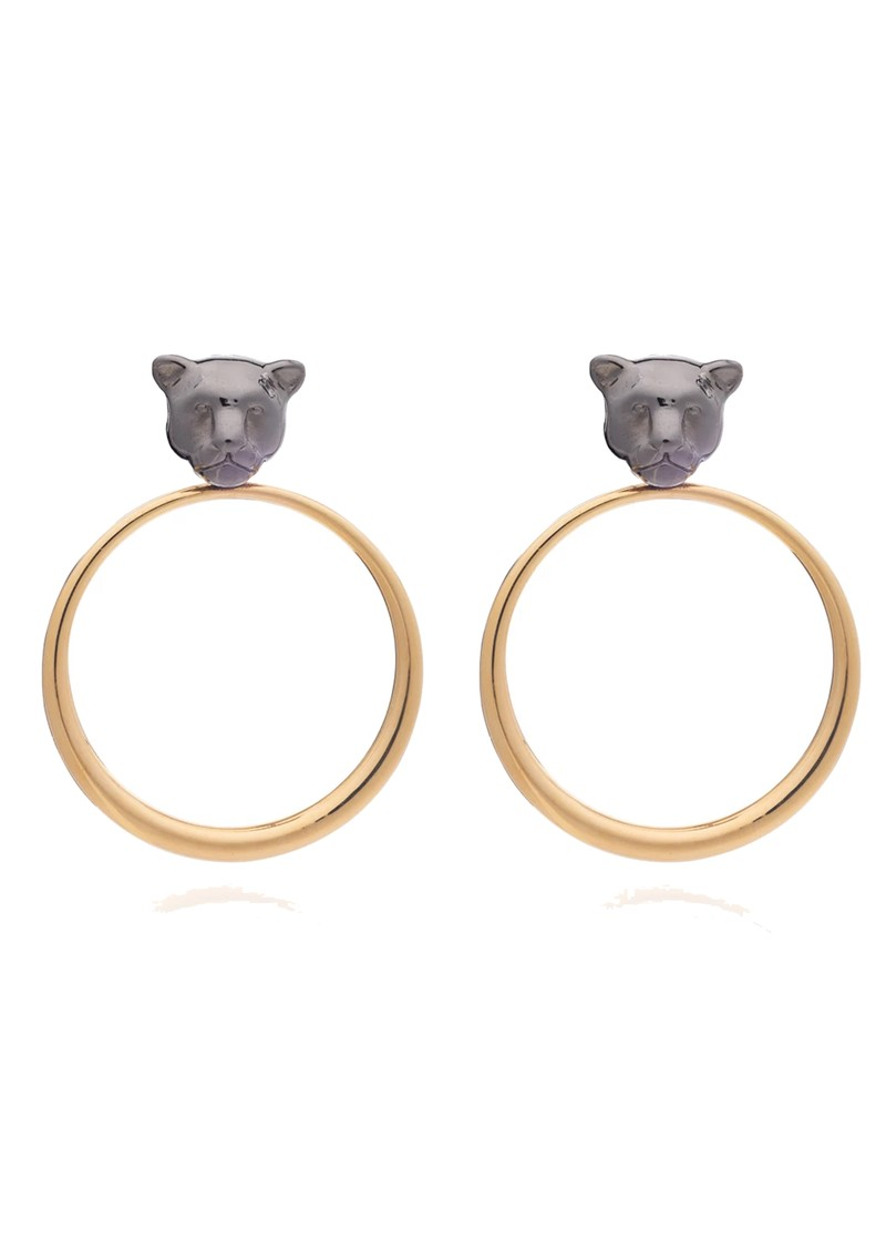 Full Moon Panther Hoop Earrings - Gold & Black main image