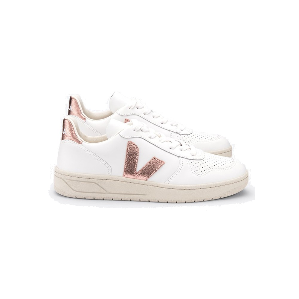 V-10 Leather Trainers - Extra White & Nacre