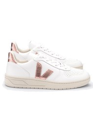 VEJA V-10 Leather Trainers - Extra White & Nacre