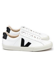 VEJA Espar Logo Leather Trainers - Extra White & Black