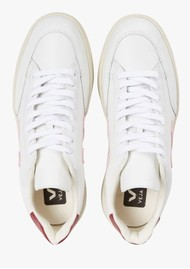 VEJA V-12 Leather Trainers - Extra White, Guimauve & Marsala