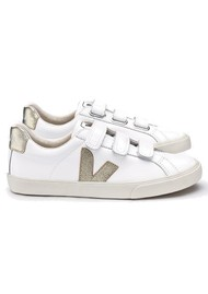 VEJA 3 Lock Leather Trainers - Extra White & Gold
