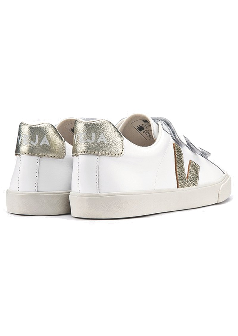 VEJA 3 Lock Leather Trainers - Extra White & Gold main image