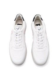 VEJA V-10 Bastille Vegan Trainers - Extra White, Petal & Black