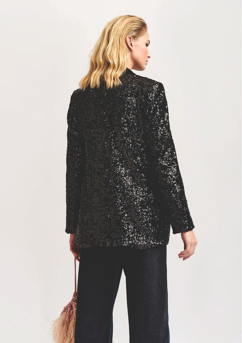 Voices Sequined Double Breasted Blazer - Black main image
