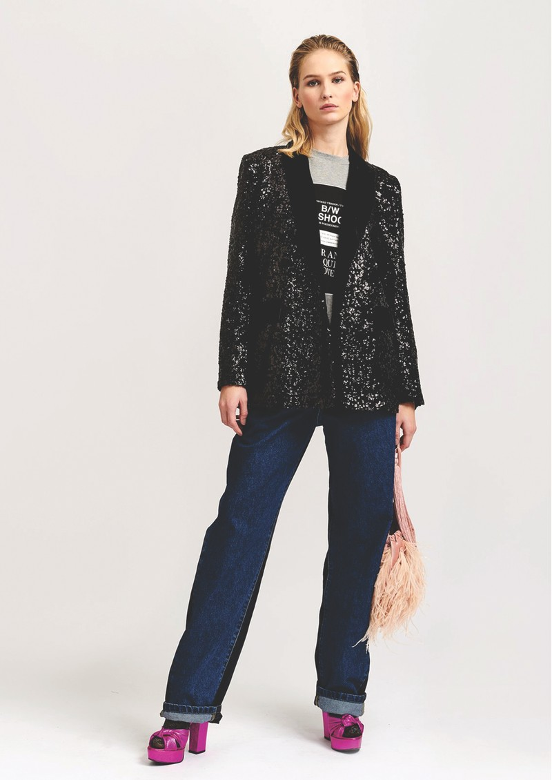 ESSENTIEL ANTWERP Voices Sequined Double Breasted Blazer - Black main image
