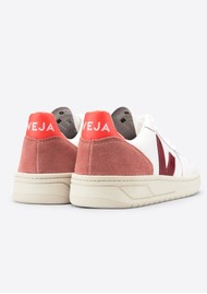 VEJA V-10 Leather Trainers - White, Marsalla & Dried Petal