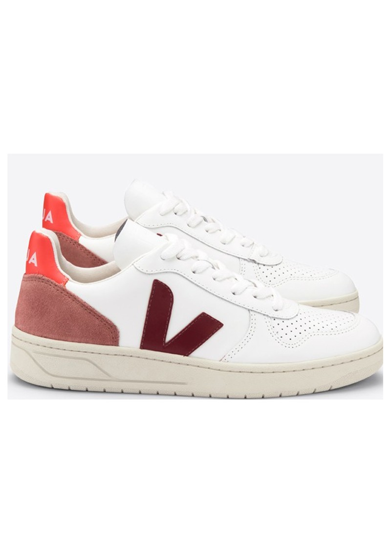 VEJA V-10 Leather Trainers - White, Marsalla & Dried Petal main image