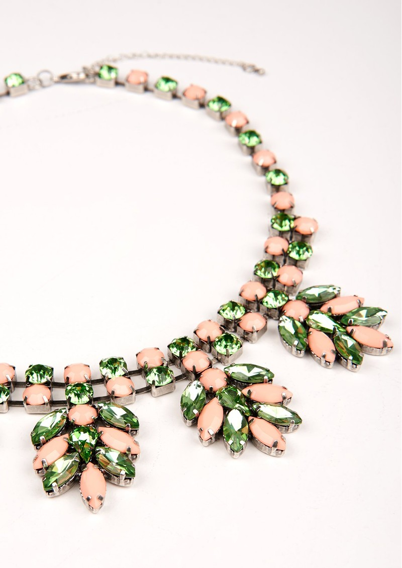 ESSENTIEL ANTWERP Valenci 2 Rhinestone Encrusted Necklace - Mentos Mint main image